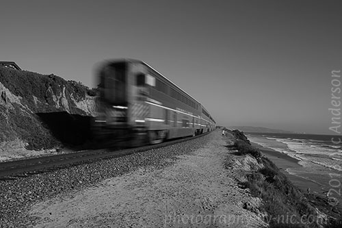 train, black and white