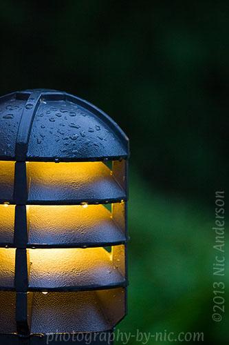 waterdrops on light