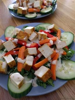 Salad with Vegan Honey Mustard over Indian Curry Baked Tofu