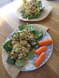 Mushroom risotto w/ baby kale & spinach on a flour tortilla with yellow mustard