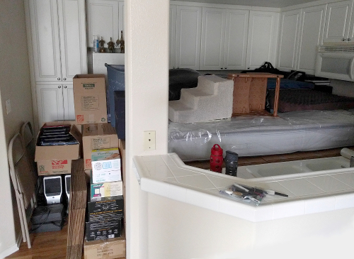 Kitchen all packed up
