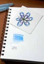 Official Zentangle Tile (blue and purple flower test) & Strathmore Vellum Visual Journal
