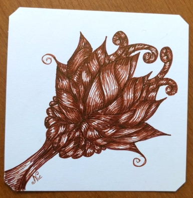 Brown ink, White paper